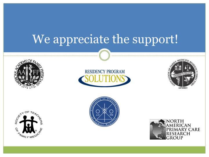 We appreciate the support!