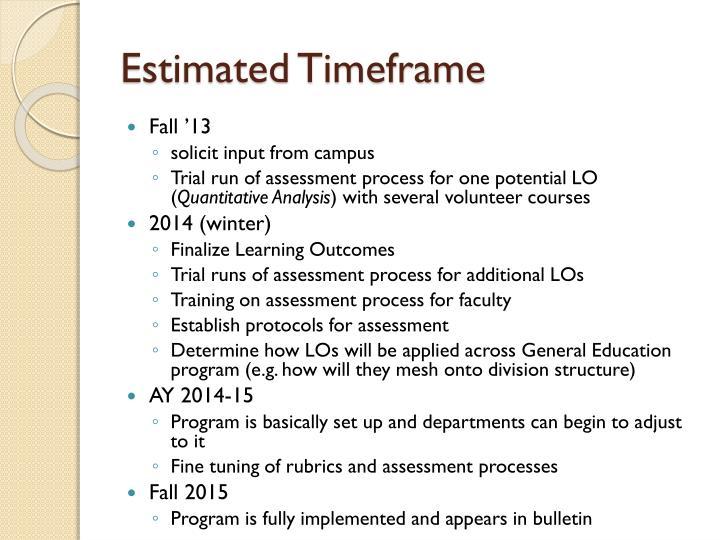 Estimated Timeframe