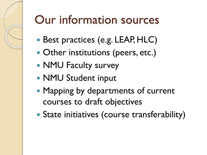 Our information sources