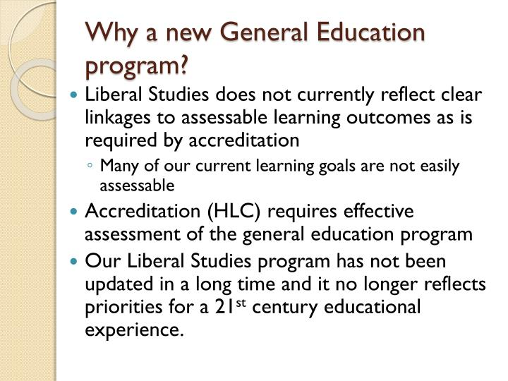 Why a new general education program
