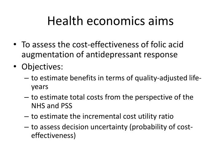 Health economics aims