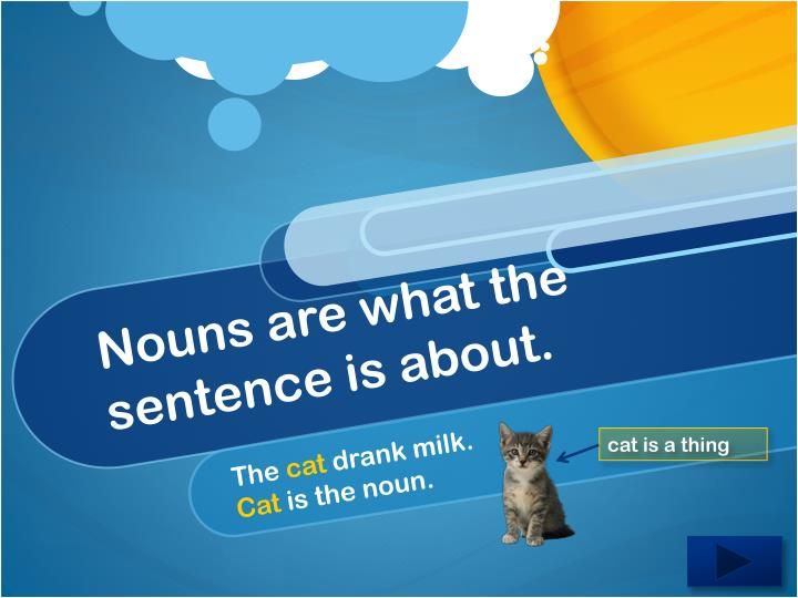 Nouns are what the sentence is about.