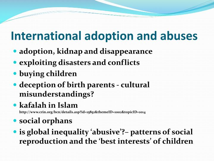 International adoption and abuses