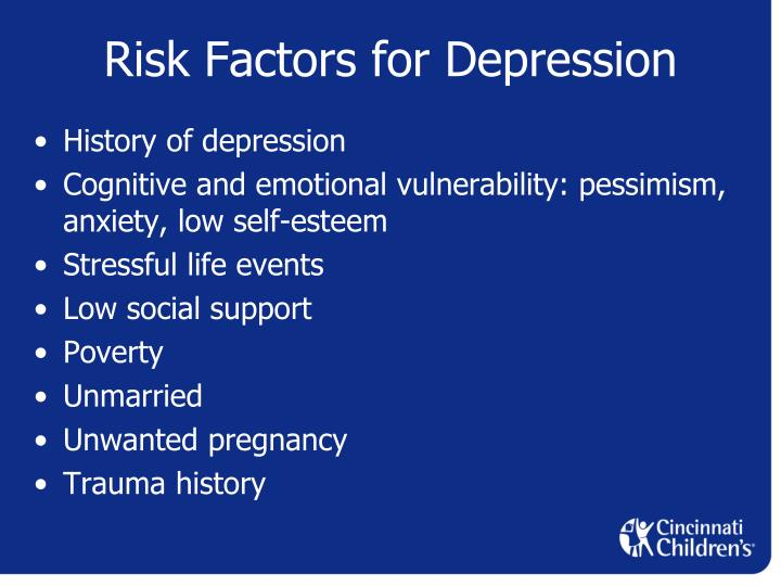 Risk factors of depression and anxiety