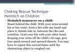 choking rescue technique heimlich on children