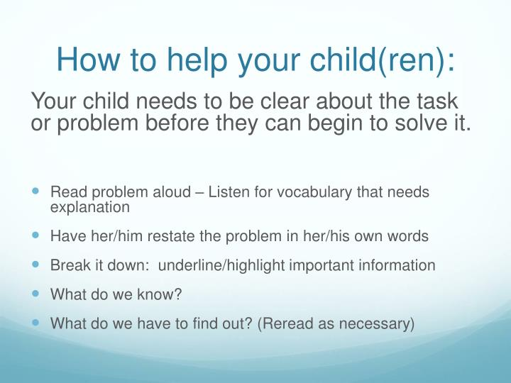 How to help your child(