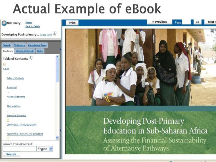 Actual Example of eBook