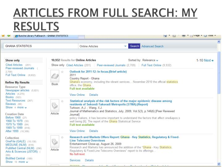 ARTICLES FROM FULL SEARCH: MY RESULTS