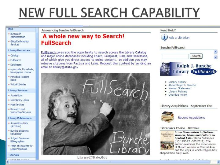 NEW FULL SEARCH CAPABILITY