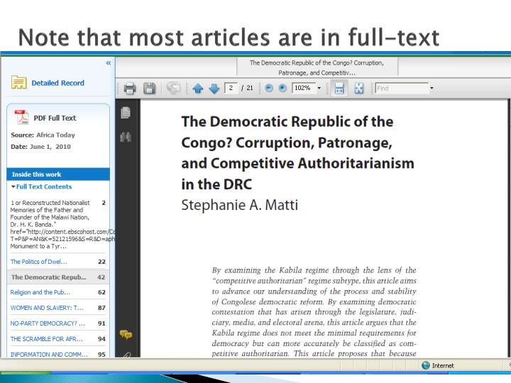 Note that most articles are in full-text