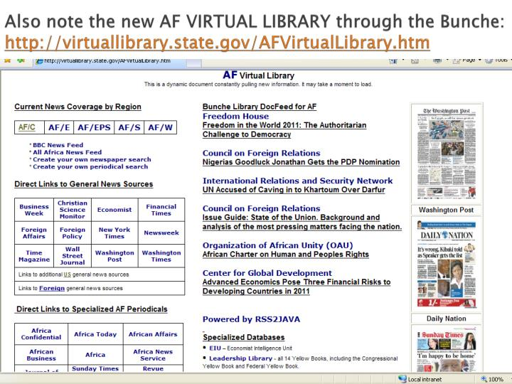 Also note the new AF VIRTUAL LIBRARY through the Bunche: