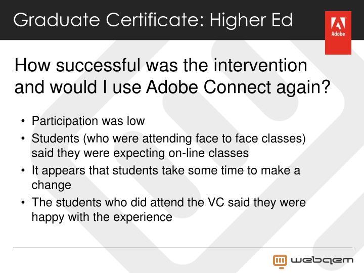Graduate Certificate: Higher Ed