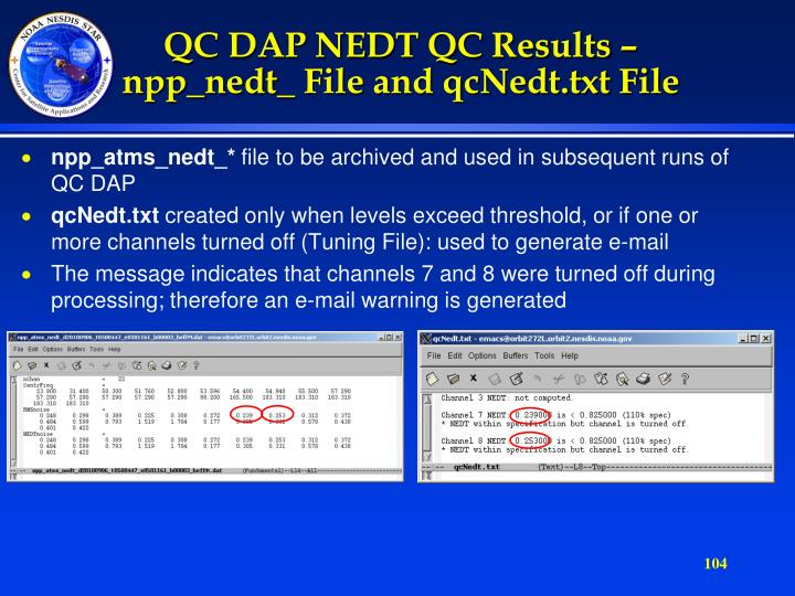 QC DAP NEDT QC Results –