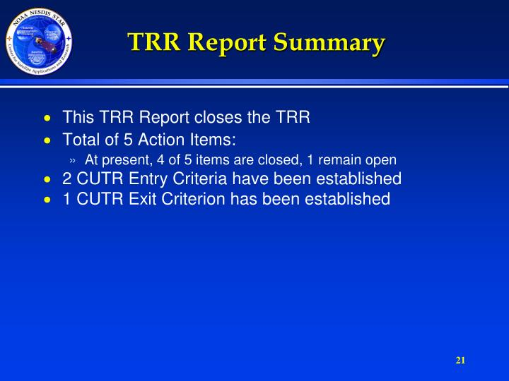 TRR Report Summary