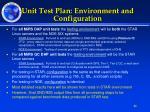 unit test plan environment and configuration