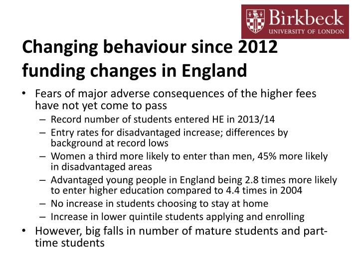 Changing behaviour since 2012 funding changes in england