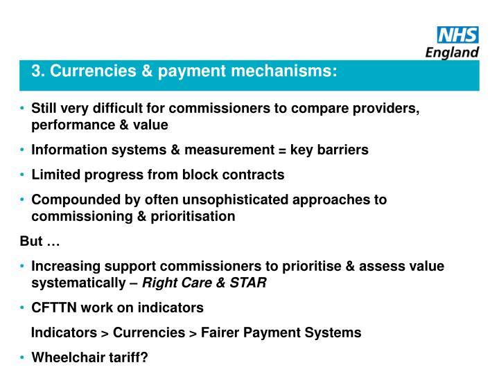 3. Currencies & payment mechanisms: