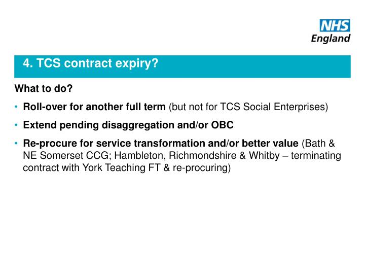 4. TCS contract expiry?