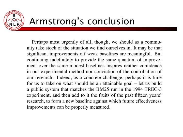 Armstrong's conclusion