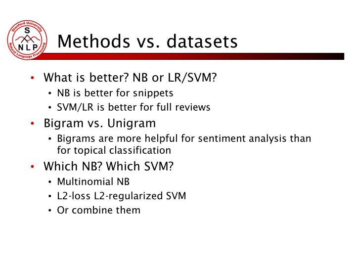 Methods vs. datasets