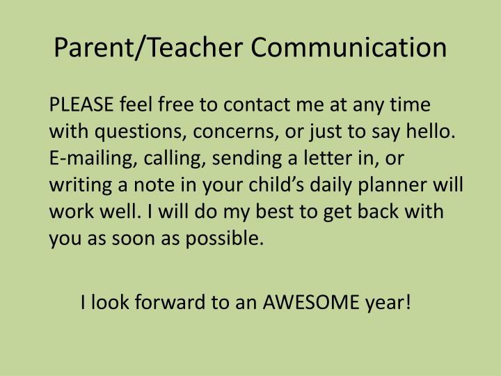 Parent/Teacher Communication