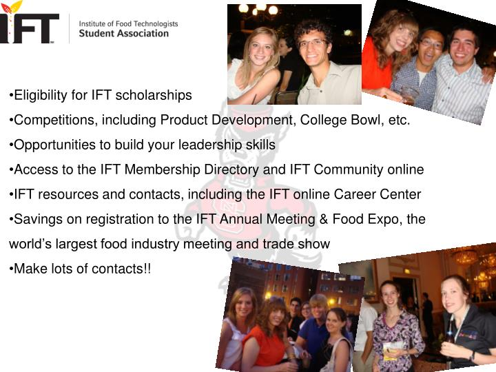 Eligibility for IFT scholarships