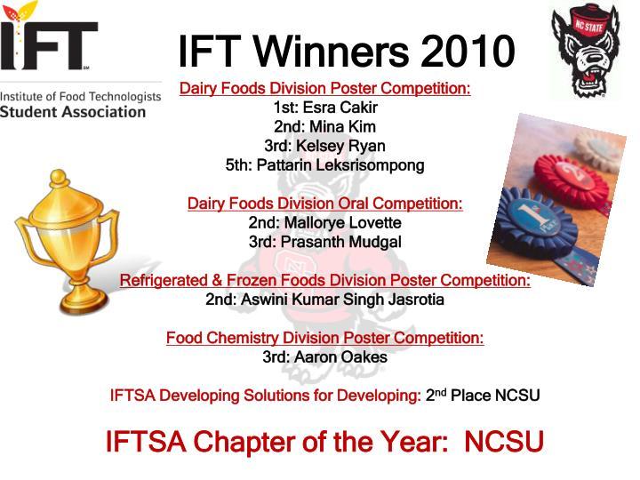 IFT Winners 2010