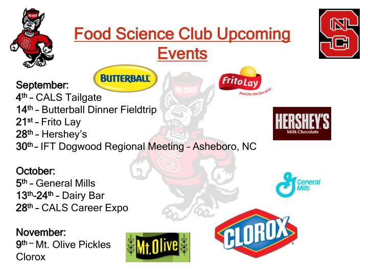 Food Science Club Upcoming Events