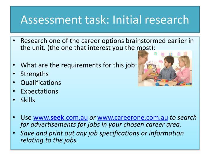 Assessment task: