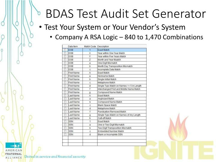 BDAS Test Audit Set Generator