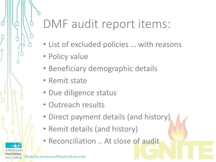 DMF audit report items: