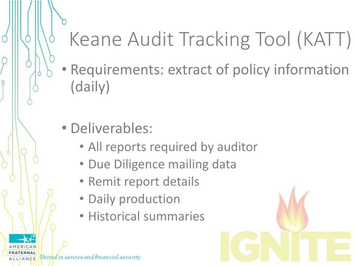 Keane Audit Tracking Tool (KATT)