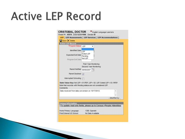 Active LEP Record