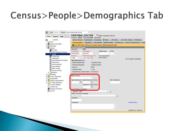 Census>People>Demographics Tab