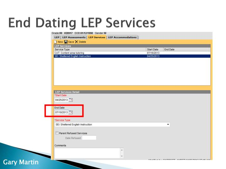 End Dating LEP Services