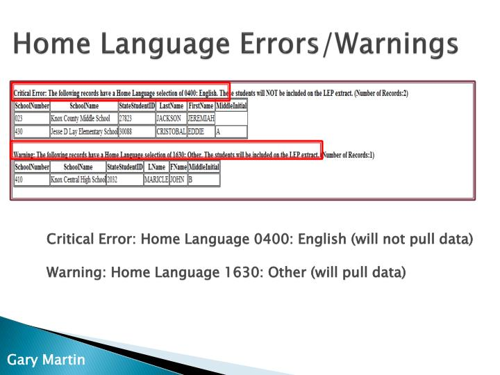 Home Language Errors/Warnings