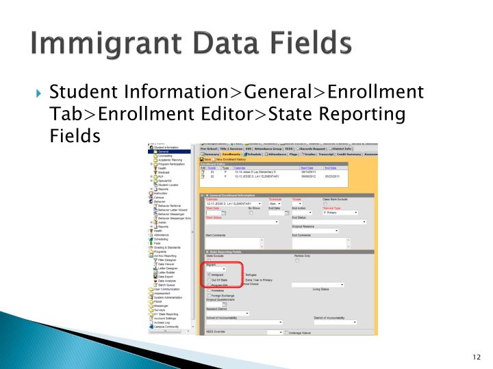 Immigrant Data Fields