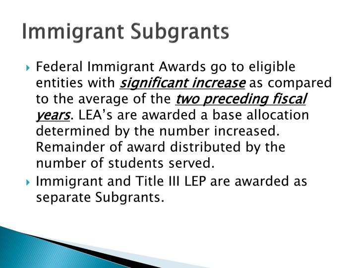 Immigrant Subgrants