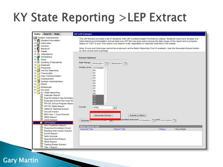 KY State Reporting >LEP Extract