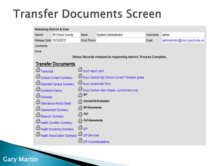 Transfer Documents Screen
