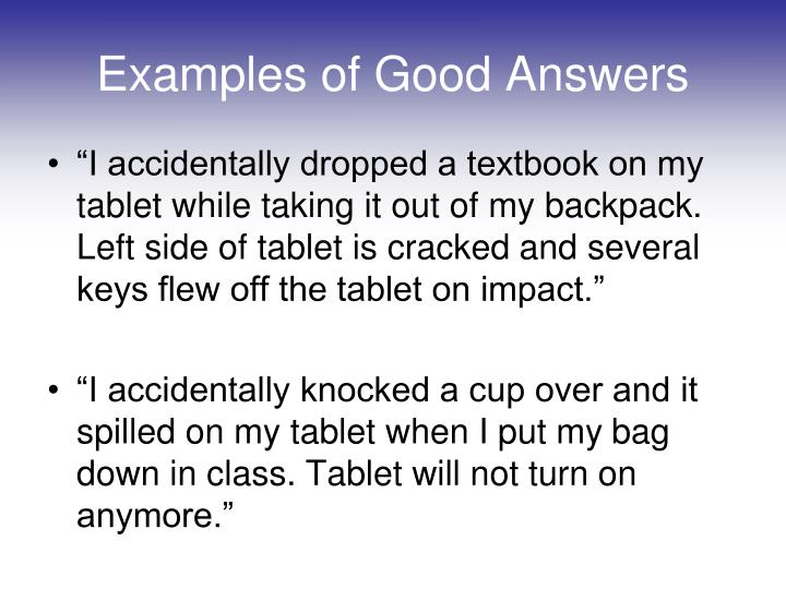 Examples of Good Answers