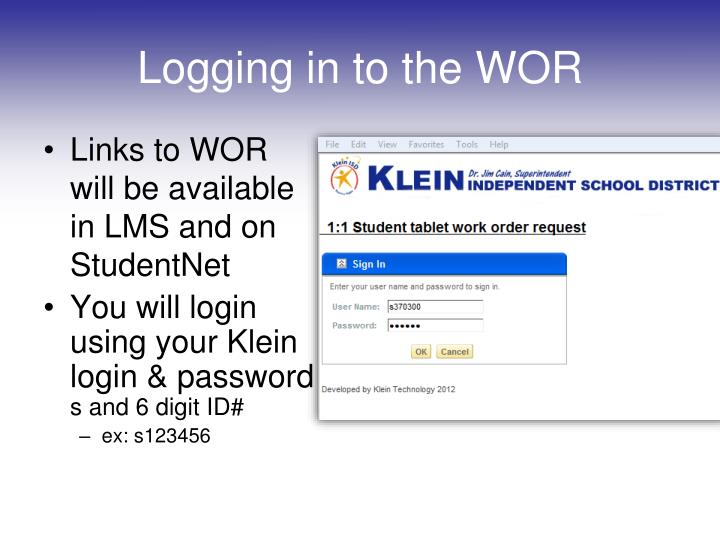 Logging in to the WOR