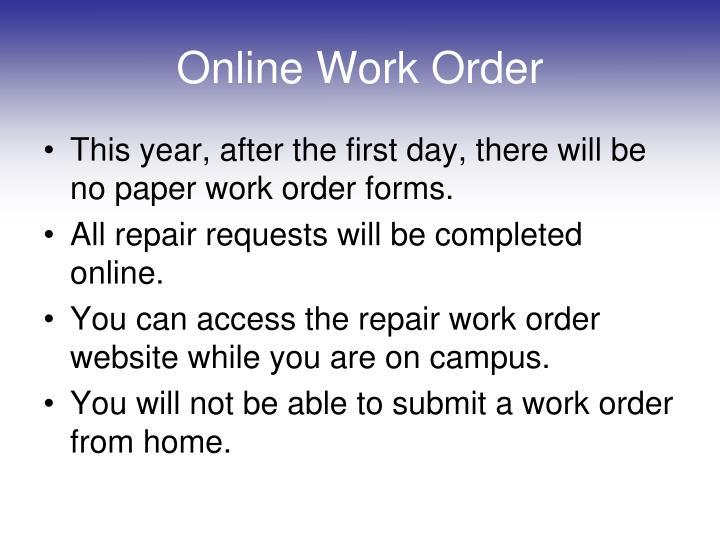 Online Work Order