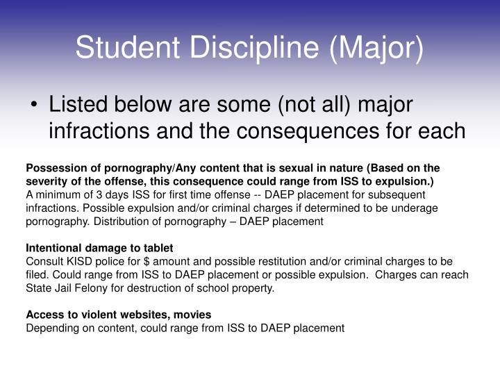 Student Discipline (Major)