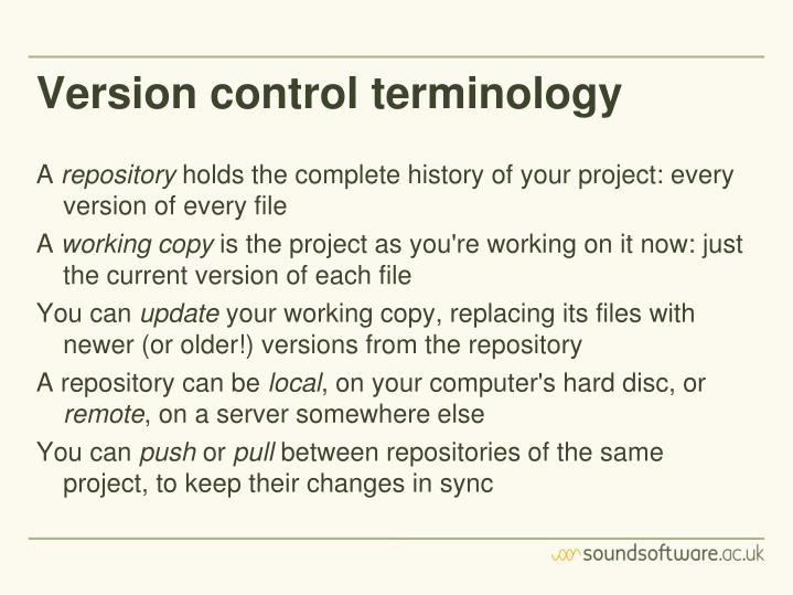 Version control terminology