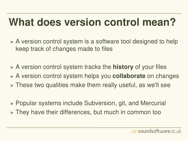 What does version control mean