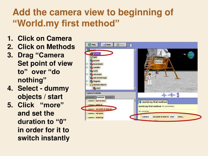 Add the camera view to beginning of