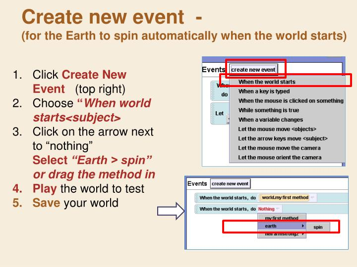 Create new event  -