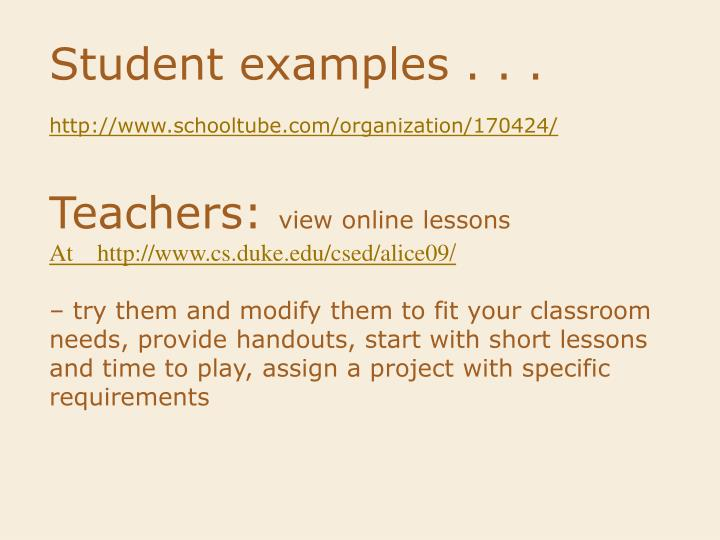 Student examples . . .
