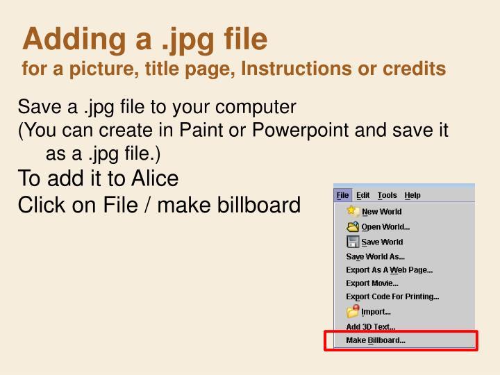 Adding a .jpg file